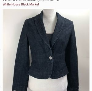 WHBM Blanc Denim Crystal Jacket
